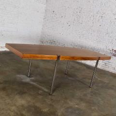 Jens Risom Modern walnut and chrome boat shaped dining conference table by jens risom - 1900272