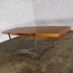 Jens Risom Modern walnut and chrome boat shaped dining conference table by jens risom - 1900283