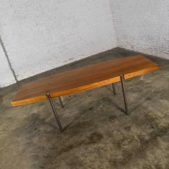 Jens Risom Modern walnut and chrome boat shaped dining conference table by jens risom - 1900299