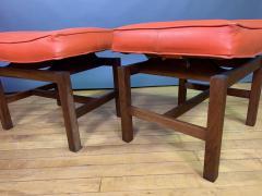 Jens Risom Pair 1960s Jens Risom Walnut Vinyl Footstool Usa - 1794078