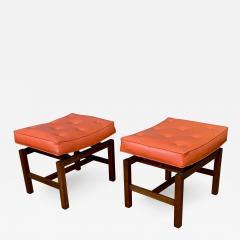 Jens Risom Pair 1960s Jens Risom Walnut Vinyl Footstool Usa - 1797707