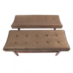 Jens Risom Pair of 1960s Cantilevered Walnut and Mohair Benches by Jens Risom - 482481