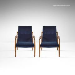 Jens Risom Pair Of Floating Jens Risom Lounge Chairs In Navy Blue Velvet    140314