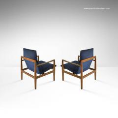 Jens Risom Pair Of Floating Jens Risom Lounge Chairs In Navy Blue Velvet    140315