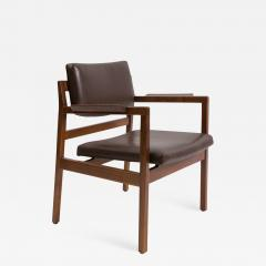 Jens Risom Set of 8 solid walnut and leather Jens Risom dining chairs - 908406