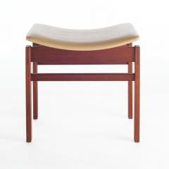 Jens Risom Set of Three Walnut and Leather Stools by Jens Risom - 466107