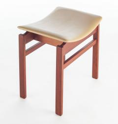 Jens Risom Set of Three Walnut and Leather Stools by Jens Risom - 466108