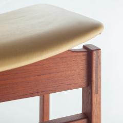 Jens Risom Set of Three Walnut and Leather Stools by Jens Risom - 466109