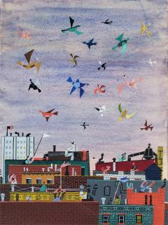 Jerome Snyder Joyful Birds flying over New York City Rooftops The Happy Painting  - 1765910