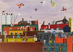 Jerome Snyder Joyful Birds flying over New York City Rooftops The Happy Painting  - 1765911