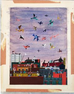 Jerome Snyder Joyful Birds flying over New York City Rooftops The Happy Painting  - 1765914