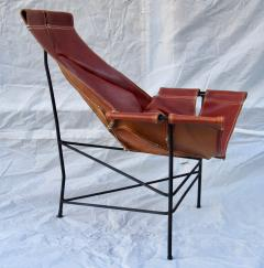 Jerry Johnson Wrought Iron Jerry Johnson Leather Sling Lounge Chair for Leather Crafters 1960 - 774355
