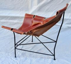 Jerry Johnson Wrought Iron Jerry Johnson Leather Sling Lounge Chair for Leather Crafters 1960 - 774356