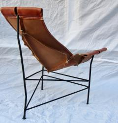 Jerry Johnson Wrought Iron Jerry Johnson Leather Sling Lounge Chair for Leather Crafters 1960 - 774358