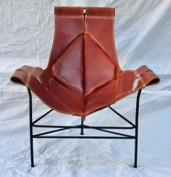 Jerry Johnson Wrought Iron Jerry Johnson Leather Sling Lounge Chair for Leather Crafters 1960 - 774359