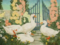 Jessie Arms Botke Ducks and Hollyhocks - 1549918