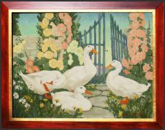 Jessie Arms Botke Ducks and Hollyhocks - 1549919