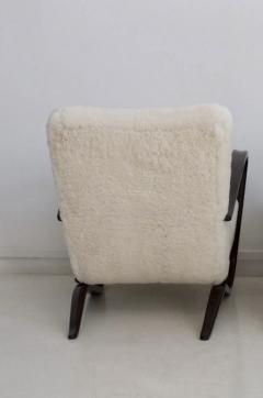 Jindrich Halabala Jindrich Halabala Kreslo H269 White Sheepskin Bentwood Armchair - 1255835