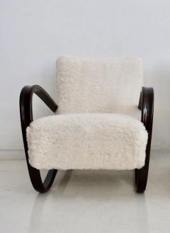 Jindrich Halabala Jindrich Halabala Kreslo H269 White Sheepskin Bentwood Armchair - 1255836