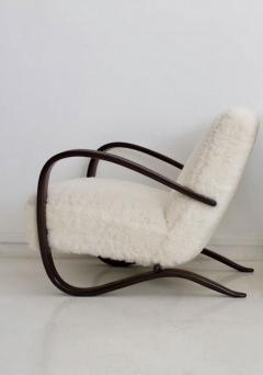 Jindrich Halabala Jindrich Halabala Kreslo H269 White Sheepskin Bentwood Armchair - 1255838
