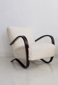 Jindrich Halabala Jindrich Halabala Kreslo H269 White Sheepskin Bentwood Armchair - 1255839