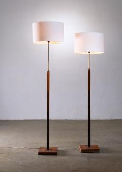 Jo Hammerborg Pair of Jo Hammerborg height adjustable wood and brass floor lamps - 1965186
