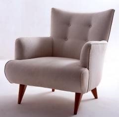 Joaquim Tenreiro Mid Century Modern Upholstery Lounge Chair by Joaquim Tenreiro Brazil 1956 - 1542118