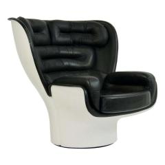 Joe Colombo 1960s Joe Colombo Black Leather Elda Chair - 1703995