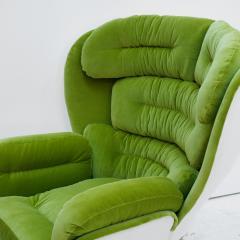 Joe Colombo Joe Colombo Mid Century Modern Green Velvet Elda Italian Lounge Chair - 1833093