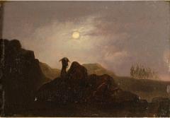 Johann Mongels Culverhouse Johann Mongels Culverhouse Dutch 1820 1891 Camel in Full Moon painting - 2130851