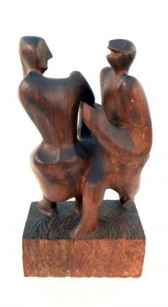 John Alfred Begg Hand Carved Walnut Sculpture of Dancers by John Begg - 1094776