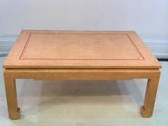 John Auberac SIGNED MODERN GRASSCLOTH TEXTURED COFFEE TABLE - 1082969
