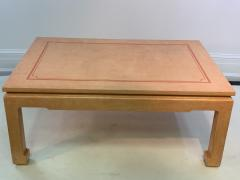 John Auberac SIGNED MODERN GRASSCLOTH TEXTURED COFFEE TABLE - 1082970