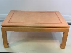 John Auberac SIGNED MODERN GRASSCLOTH TEXTURED COFFEE TABLE - 1082971