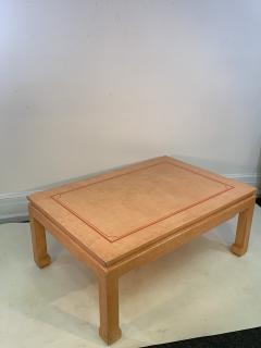 John Auberac SIGNED MODERN GRASSCLOTH TEXTURED COFFEE TABLE - 1082973