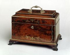 John Channon Rare Antique English Mahogany Brass Inlaid Tea Caddy in the Manner of Channon - 1311269