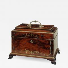 John Channon Rare Antique English Mahogany Brass Inlaid Tea Caddy in the Manner of Channon - 1312909