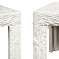 John Dickinson John Dickinson Pair of Rare End Tables with Wood Motif 1970s Signed  - 2127218