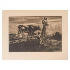 John Edward Costigan John Costigan Signed Original Pastoral Etching by John E Costigan Circa 1930 - 1700526