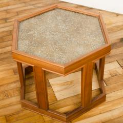 John Keal A handsome hexagonal walnut side table with gold copper pebbled resin design - 2033589
