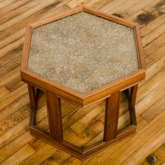 John Keal A handsome hexagonal walnut side table with gold copper pebbled resin design - 2033606