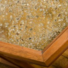John Keal A handsome hexagonal walnut side table with gold copper pebbled resin design - 2033610