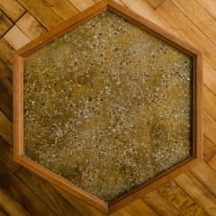 John Keal A handsome hexagonal walnut side table with gold copper pebbled resin design - 2033655