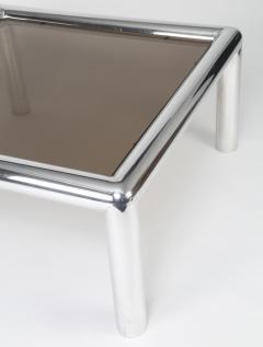 John Mascheroni 1960s John Mascheroni Aluminum and Smoked Glass Tubo Coffee Table - 483192