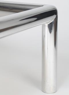 John Mascheroni 1960s John Mascheroni Aluminum and Smoked Glass Tubo Coffee Table - 483195