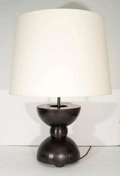 John McDevitt Large Pair of Sculptural Patinated Steel Geometric Form Lamps - 271340