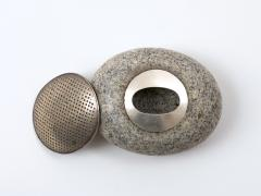 John Prip John Prip Sterling Silver and Granite River Stone Lidded Box - 447470
