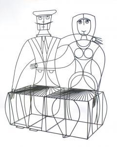 John Risley 1960s John Risley Monsieur Mademoiselle Patio Bench Sculpture - 1484214