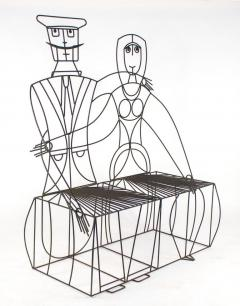 John Risley 1960s John Risley Monsieur Mademoiselle Patio Bench Sculpture - 1484215