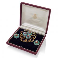John Rubel John Rubel Ruby Diamond Turquoise Clip Brooch and Earrings Suit - 1068348